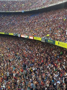 just a few supporters at the Barcelona-Napoli game at Camp Nou