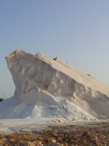 "salt ""iceberg"" at the salt works at Es Trenc"